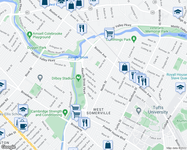map of restaurants, bars, coffee shops, grocery stores, and more near Gordon Street in Somerville