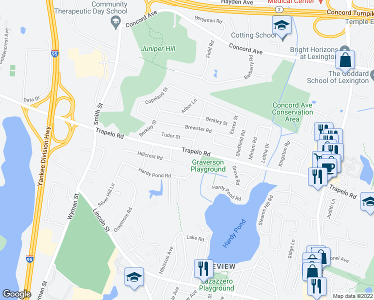 map of restaurants, bars, coffee shops, grocery stores, and more near 1293 Trapelo Road in Waltham