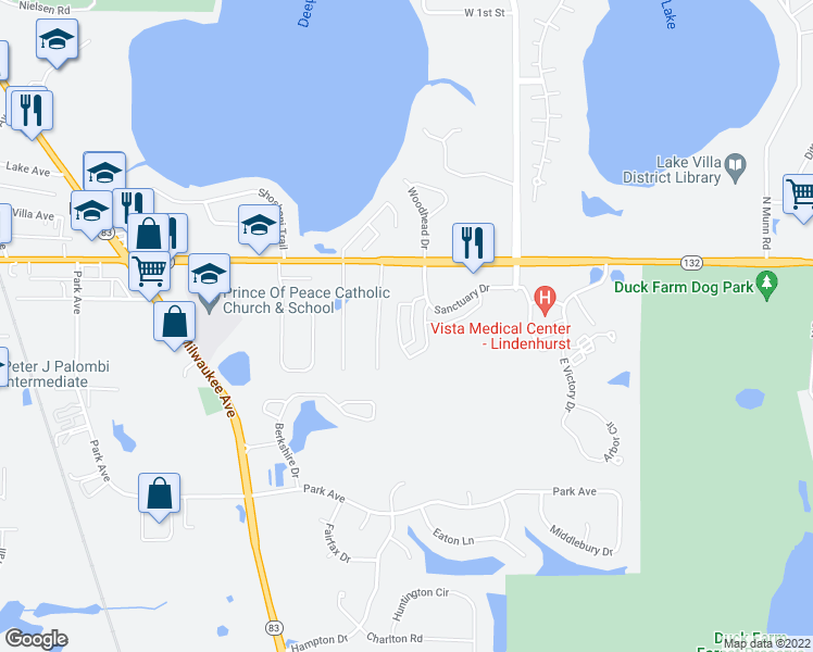 map of restaurants, bars, coffee shops, grocery stores, and more near 847 Sanctuary Drive in Lake Villa
