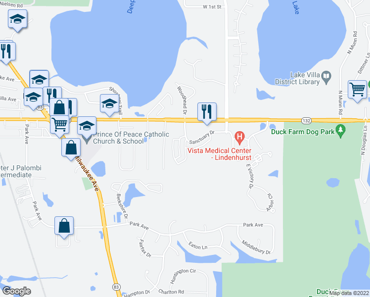 map of restaurants, bars, coffee shops, grocery stores, and more near 851 Sanctuary Drive in Lake Villa