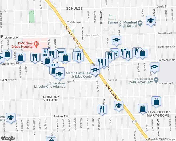 map of restaurants, bars, coffee shops, grocery stores, and more near 16890 Sorrento St in Detroit