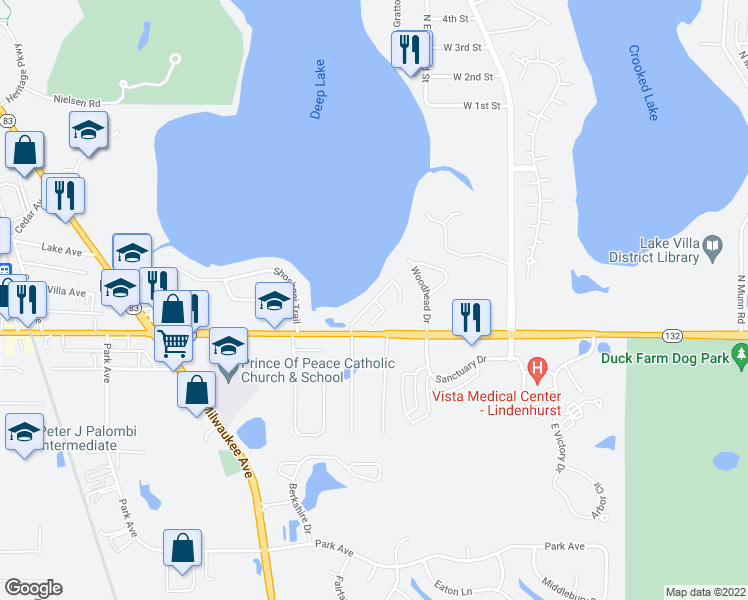 map of restaurants, bars, coffee shops, grocery stores, and more near 714 Waters Edge Drive in Lake Villa