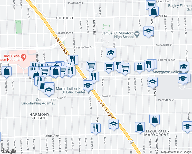 map of restaurants, bars, coffee shops, grocery stores, and more near McNichols Rd W & Meyers Rd in Detroit