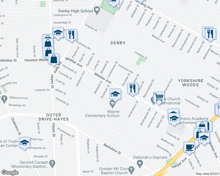 map of restaurants, bars, coffee shops, grocery stores, and more near 10880 Stratman Street in Detroit