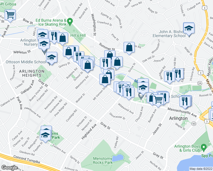 map of restaurants, bars, coffee shops, grocery stores, and more near Massachusetts Ave & Mt Vernon St in Arlington