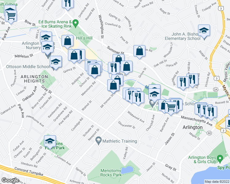 map of restaurants, bars, coffee shops, grocery stores, and more near Massachusetts Avenue & Mount Vernon Street in Arlington