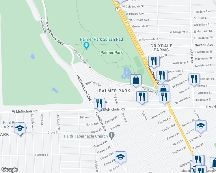 map of restaurants, bars, coffee shops, grocery stores, and more near 850 Whitmore Rd in Highland Park