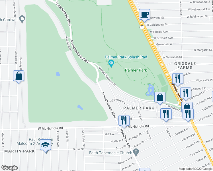 map of restaurants, bars, coffee shops, grocery stores, and more near 17725 Manderson Road in Highland Park