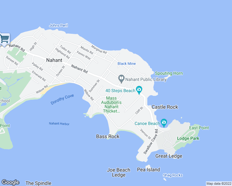 map of restaurants, bars, coffee shops, grocery stores, and more near 339 Nahant Road in Nahant