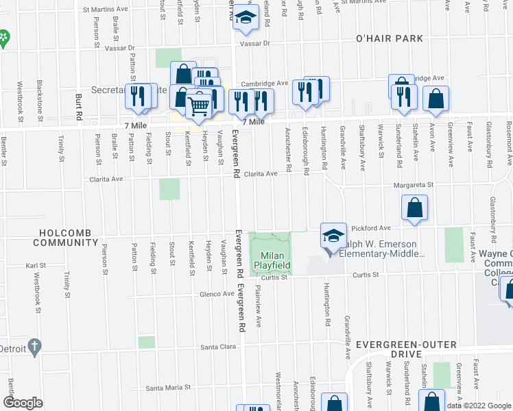 map of restaurants, bars, coffee shops, grocery stores, and more near 18505 Plainview Avenue in Detroit