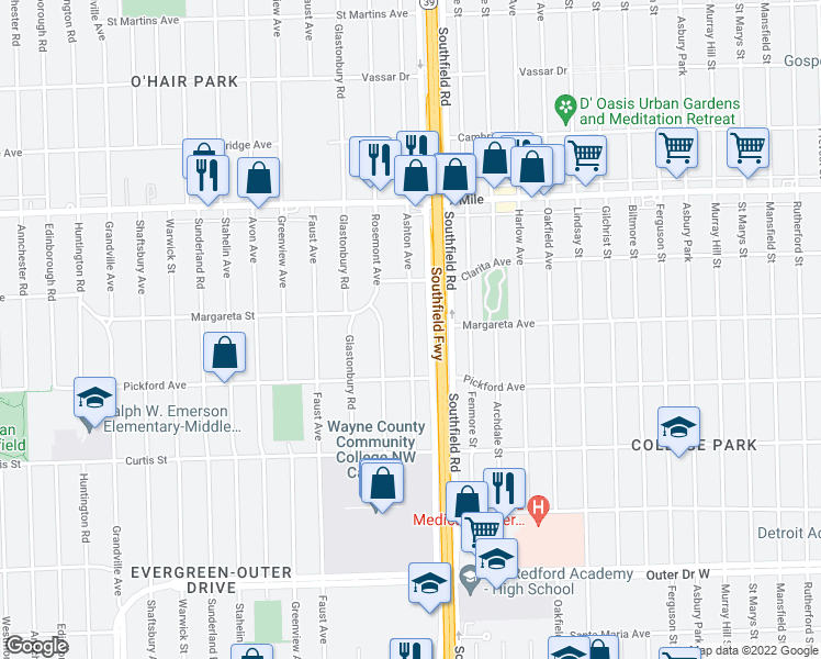 map of restaurants, bars, coffee shops, grocery stores, and more near Ashton Avenue in Detroit
