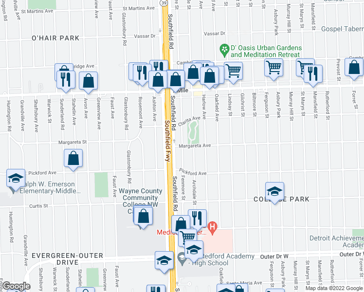 map of restaurants, bars, coffee shops, grocery stores, and more near Fenmore Avenue in Detroit