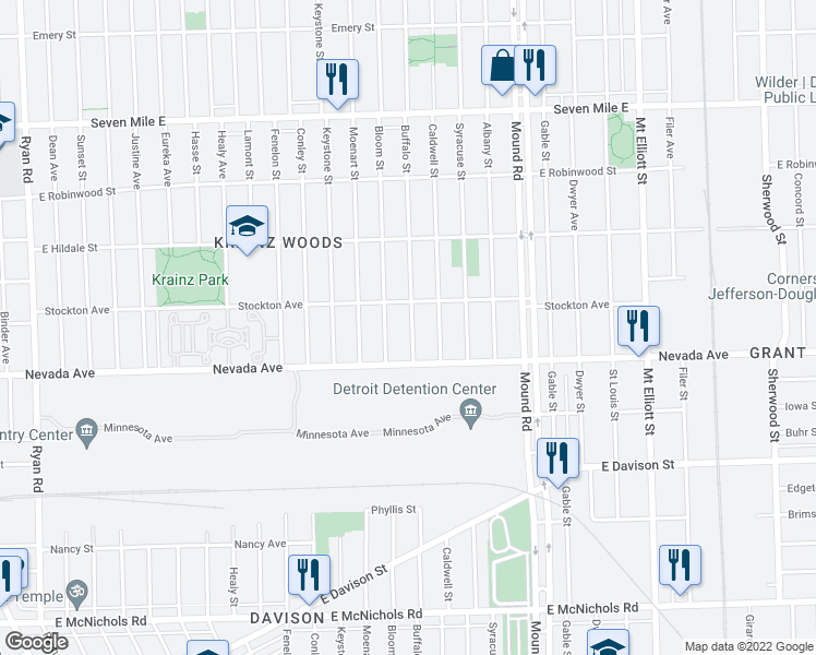 map of restaurants, bars, coffee shops, grocery stores, and more near 18075 Buffalo Street in Detroit