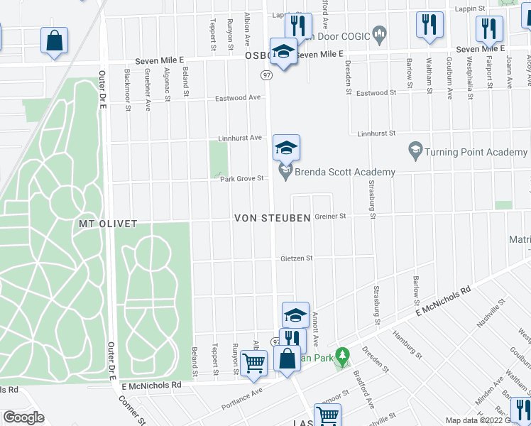 map of restaurants, bars, coffee shops, grocery stores, and more near 18011 Hoover Street in Detroit
