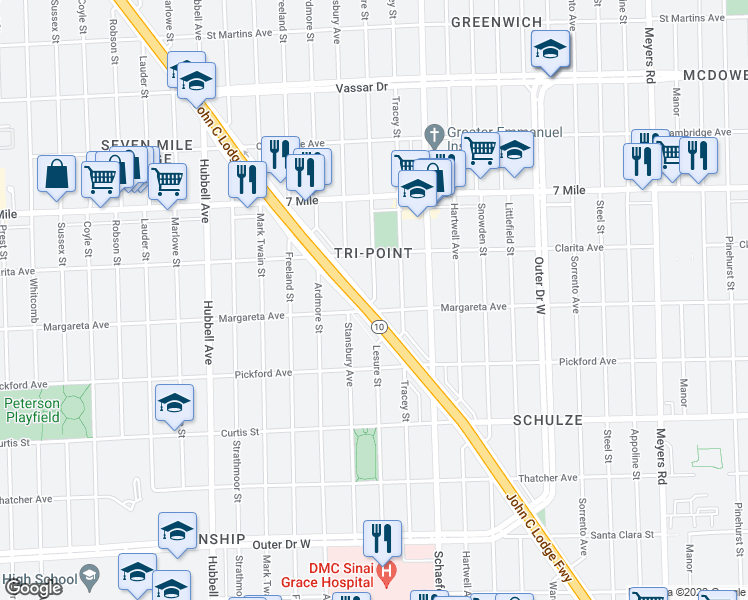 map of restaurants, bars, coffee shops, grocery stores, and more near Lesure Street in Detroit