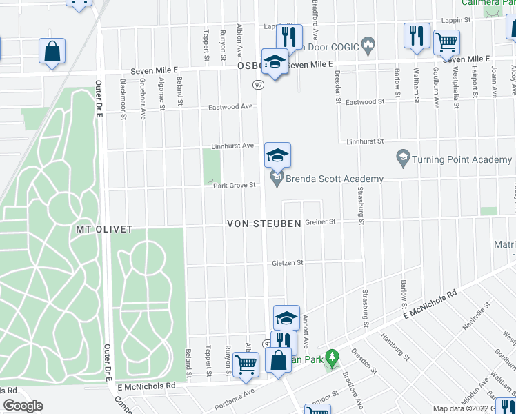map of restaurants, bars, coffee shops, grocery stores, and more near 18047 Hoover Street in Detroit