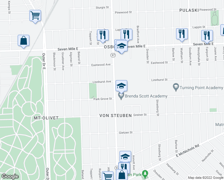 map of restaurants, bars, coffee shops, grocery stores, and more near 18457 Hoover Street in Detroit