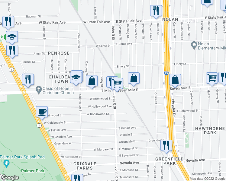 map of restaurants, bars, coffee shops, grocery stores, and more near 8 West 7 Mile Road in Detroit