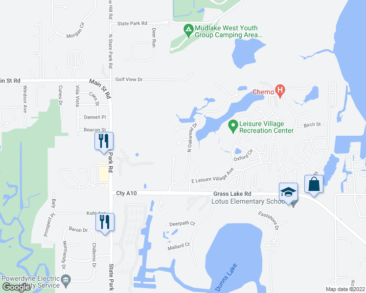 map of restaurants, bars, coffee shops, grocery stores, and more near 6332 Burr Oaks Court in Fox Lake