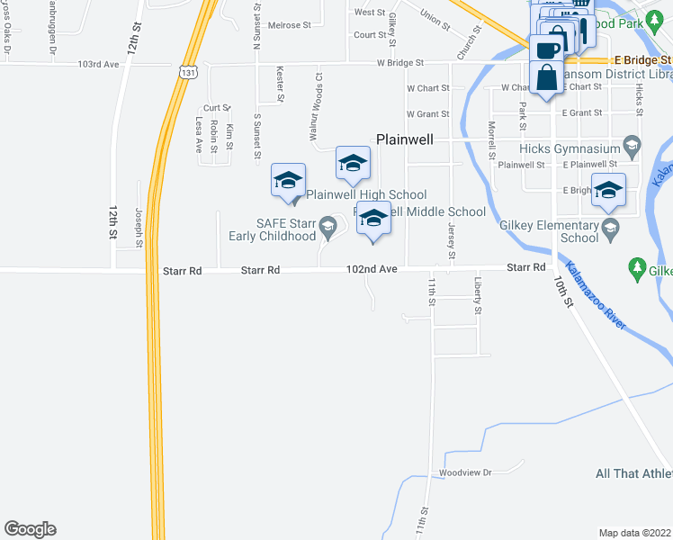 map of restaurants, bars, coffee shops, grocery stores, and more near 1098 Starr Road in Plainwell