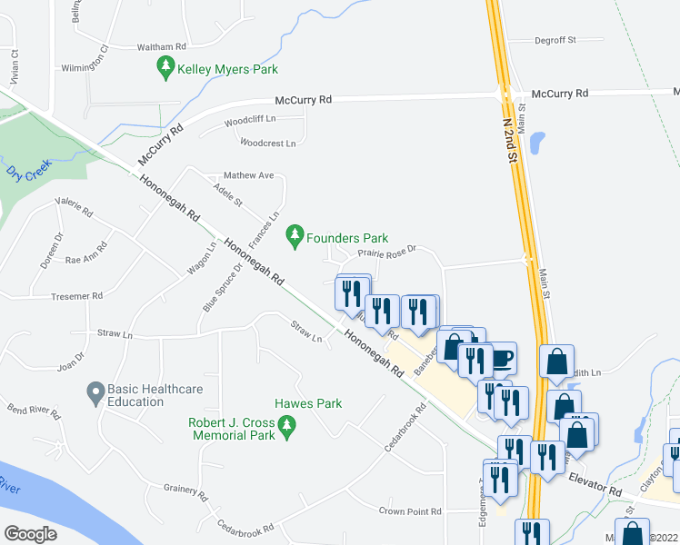 map of restaurants, bars, coffee shops, grocery stores, and more near 4775-4879 Prairie Rose Drive in Roscoe