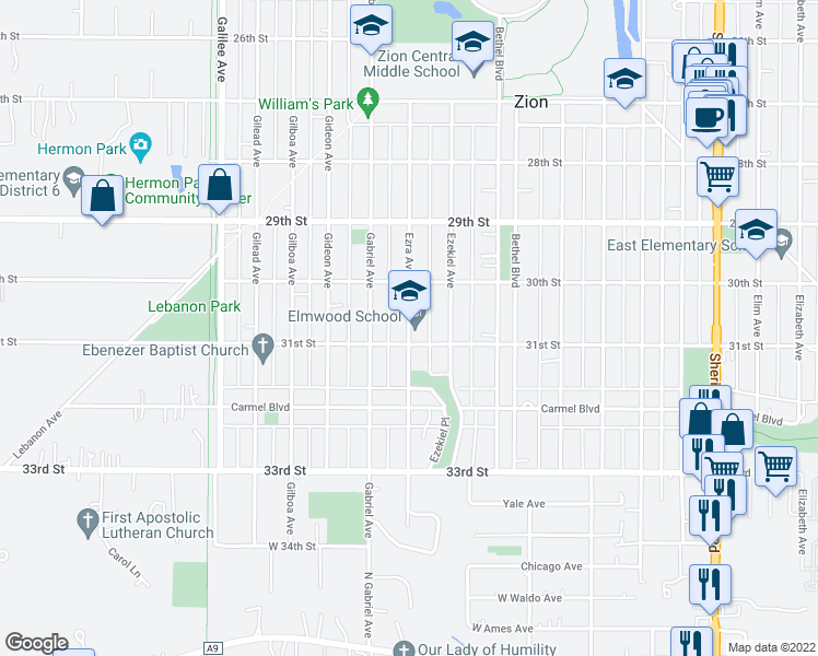 map of restaurants, bars, coffee shops, grocery stores, and more near 3101 Ezra Avenue in Zion