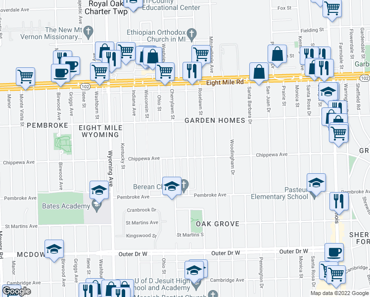 map of restaurants, bars, coffee shops, grocery stores, and more near 20135 Northlawn Street in Detroit