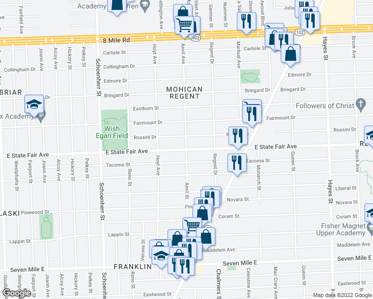 map of restaurants, bars, coffee shops, grocery stores, and more near East State Fair Avenue & Anvil Avenue in Detroit
