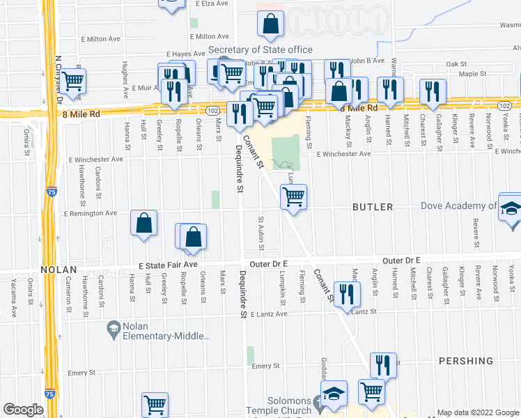 map of restaurants, bars, coffee shops, grocery stores, and more near St Aubin St & E Remington Ave in Detroit