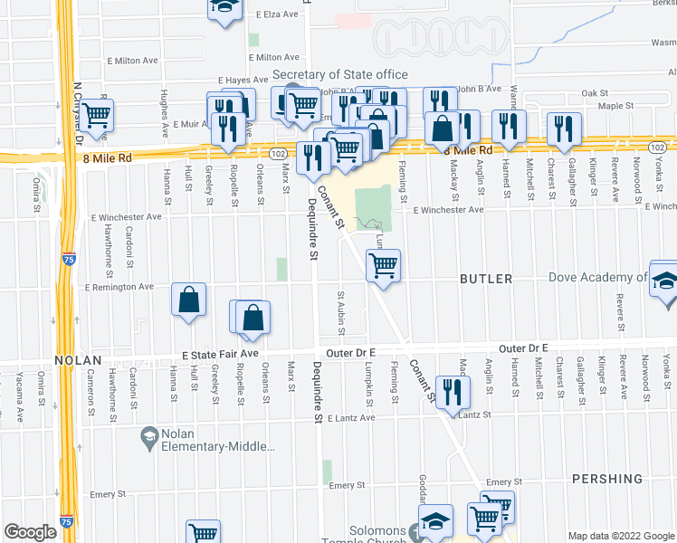 map of restaurants, bars, coffee shops, grocery stores, and more near 20119 St Aubin St in Detroit
