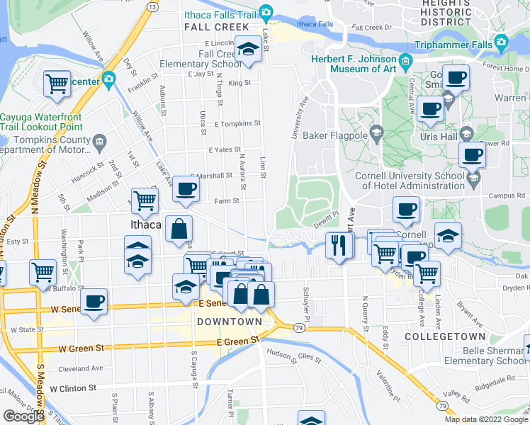 map of restaurants, bars, coffee shops, grocery stores, and more near 136 Linn Street in Ithaca