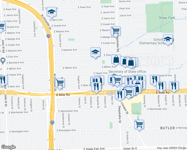 map of restaurants, bars, coffee shops, grocery stores, and more near 1544 East Hayes Avenue in Hazel Park