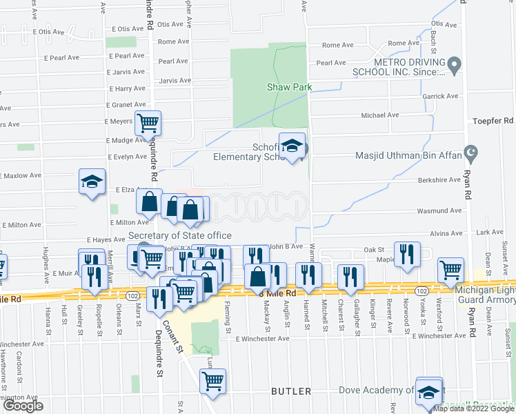 map of restaurants, bars, coffee shops, grocery stores, and more near 21155 Warner Avenue in Warren