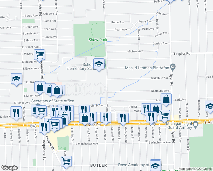 map of restaurants, bars, coffee shops, grocery stores, and more near 252-298 North Lafayette Boulevard in Warren