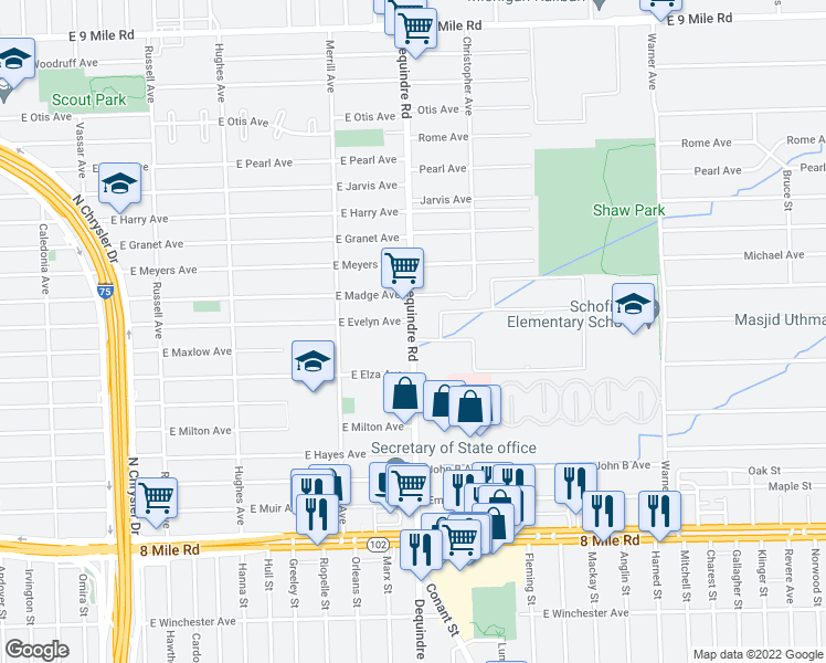 map of restaurants, bars, coffee shops, grocery stores, and more near 21434-21498 Dequindre Road in Warren
