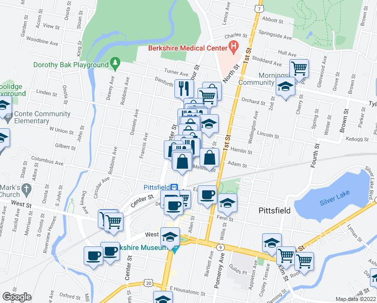 map of restaurants, bars, coffee shops, grocery stores, and more near 333 North Street in Pittsfield