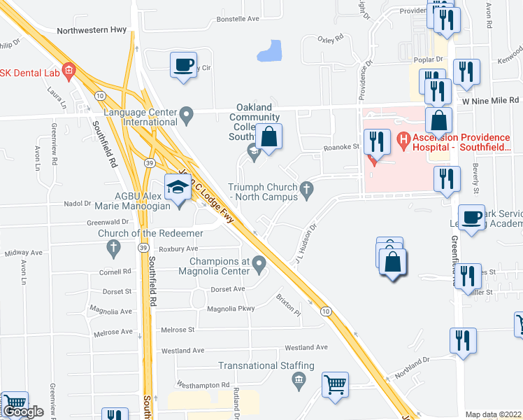 map of restaurants, bars, coffee shops, grocery stores, and more near 16500 North Park Drive in Southfield