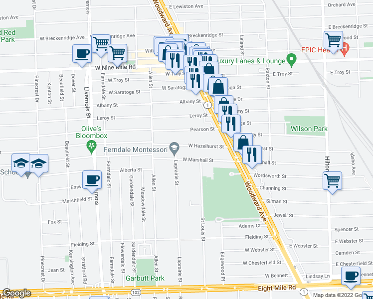 map of restaurants, bars, coffee shops, grocery stores, and more near 351 West Hazelhurst Street in Ferndale