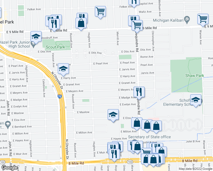 map of restaurants, bars, coffee shops, grocery stores, and more near 1528 East Granet Avenue in Hazel Park