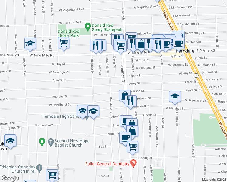 Ferndale Michigan Map.970 Pearson Street Ferndale Mi Walk Score