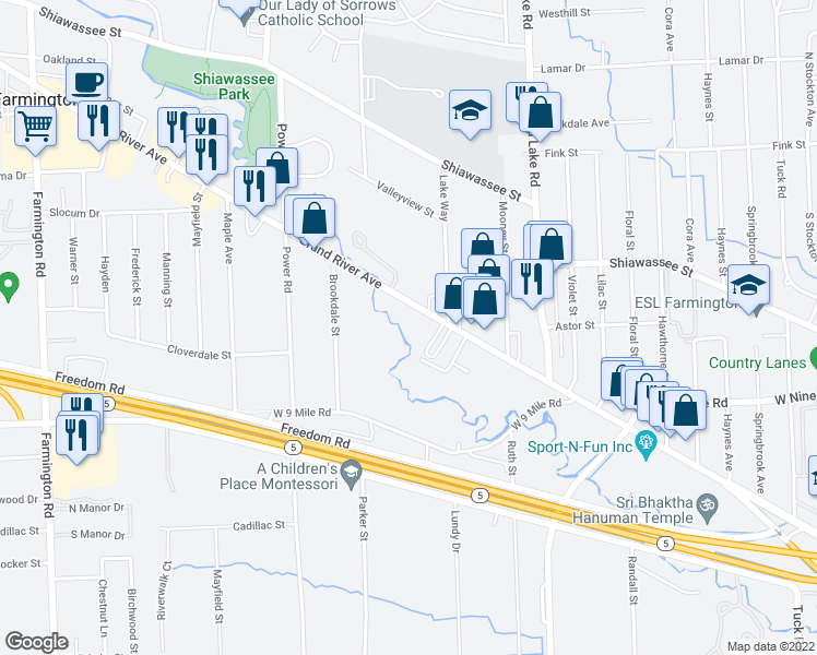 map of restaurants, bars, coffee shops, grocery stores, and more near 31831 Grand River Avenue in Farmington