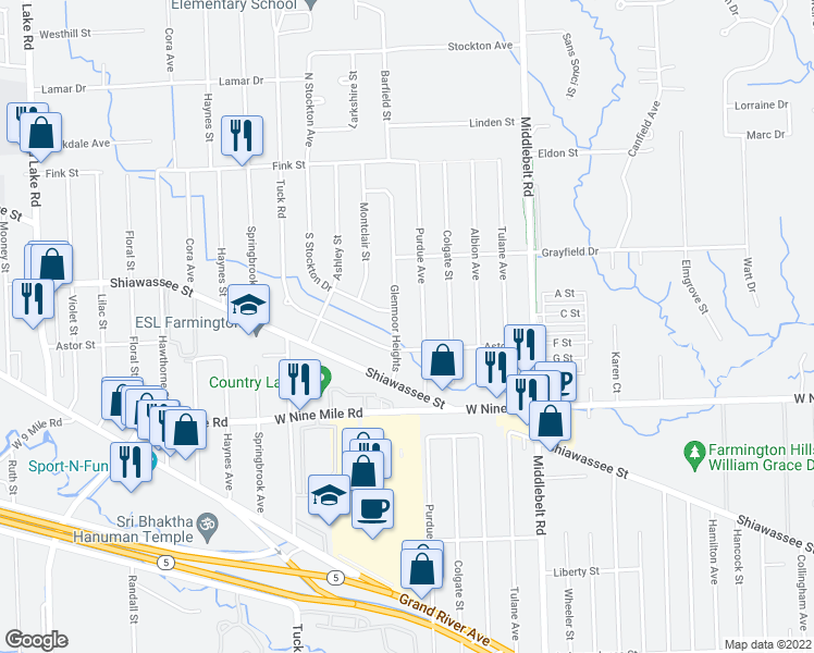 map of restaurants, bars, coffee shops, grocery stores, and more near 22650 Glenmoor Heights in Farmington Hills