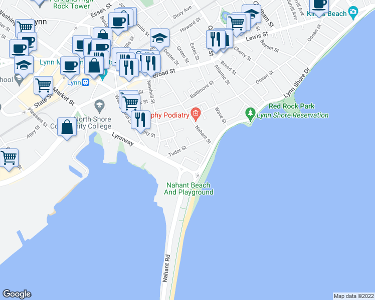 map of restaurants, bars, coffee shops, grocery stores, and more near 36 Tudor Street in Lynn