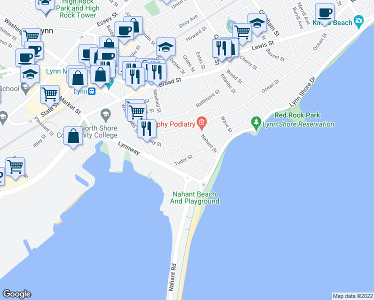map of restaurants, bars, coffee shops, grocery stores, and more near 37 Tudor Street in Lynn