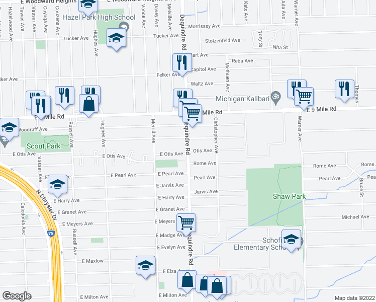 map of restaurants, bars, coffee shops, grocery stores, and more near Dequindre Rd & Otis Ave i