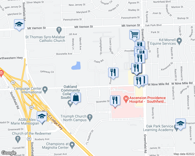 map of restaurants, bars, coffee shops, grocery stores, and more near 16200 West Nine Mile Road in Southfield