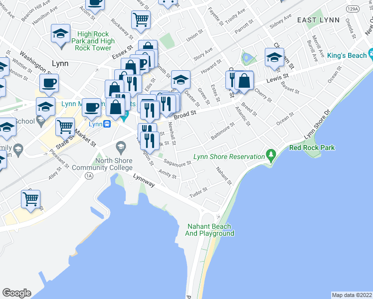 map of restaurants, bars, coffee shops, grocery stores, and more near West Baltimore Street in Lynn