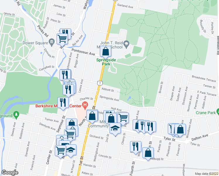 map of restaurants, bars, coffee shops, grocery stores, and more near 29 Abbott Street in Pittsfield