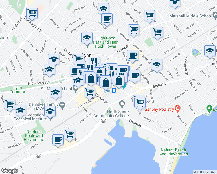 map of restaurants, bars, coffee shops, grocery stores, and more near Munroe Street in Lynn
