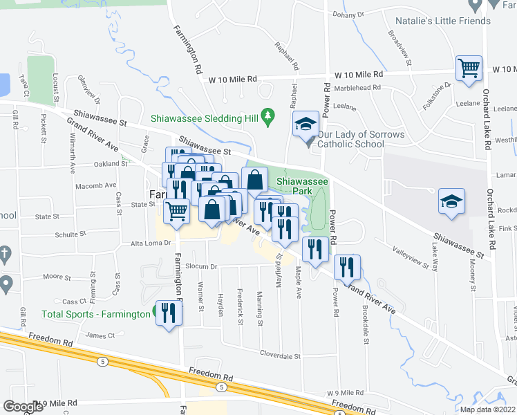 map of restaurants, bars, coffee shops, grocery stores, and more near 32900 Grand River Avenue in Farmington